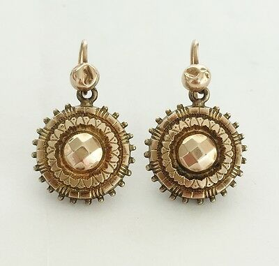 Victorian Antique Etruscan 9ct Solid Gold - Drop Dangle Earrings - 1873 Patent