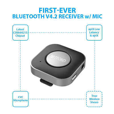 TROND 3.5mm Bluetooth V4.2 Audio Receiver Adapter with Mic Clip (True Wireless