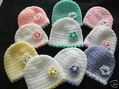 Pack of 2  hand knitted baby Hat  in newborn