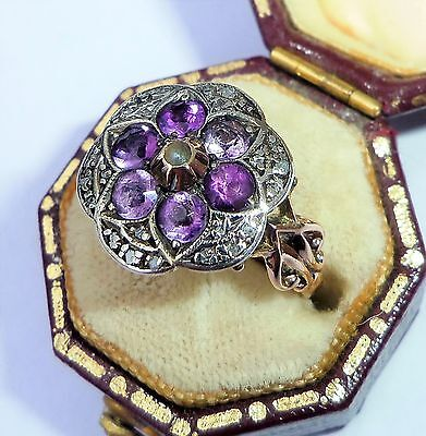 Antique 9ct Rose Gold, Platinum, Amethyst, Pearl & Diamond Ring, Size M
