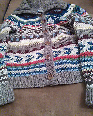 American Eagle Outfitters hand knit kids girl's size L large multicolor cardigan