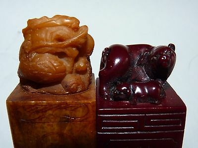 Carved Asian Soapstone Chop Stamp Seal Pig