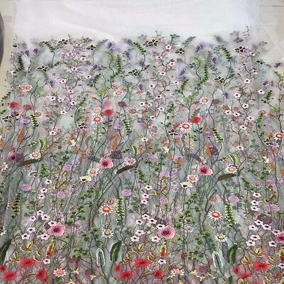 1 YARD FLORAL Embroidery Black White Mesh Wedding Dress Lace Fabric