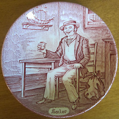 Vintage Wedgwood Coaster, Pin Tray, Decorator Plate, Sailor Red and White