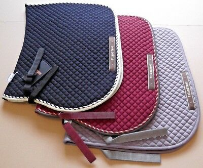 Treadstone Quilted Saddle Pad cloth / Numnah- Cob Pony Horse Grey Burgundy Black