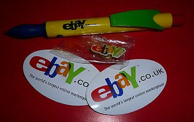 ebay collectible pin badge, stickers and pen. ebayana