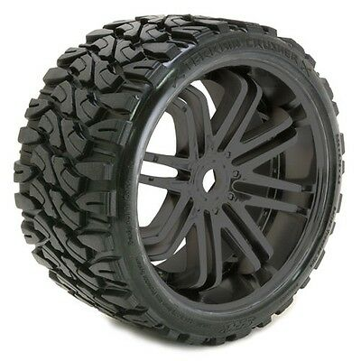 Sweep Terrain Crusher Belted Tyre Black 17mm Wheels 1/4 Offset (Pair) - SRC0002B