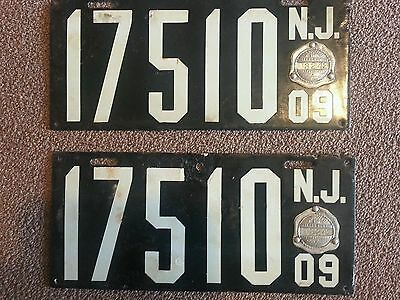 Pair 2 matching 1909 New Jersey porcelain license plates tags car truck rare