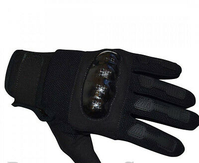 security military Black lightweight Hard Shell Knuckle Protection Gloves L