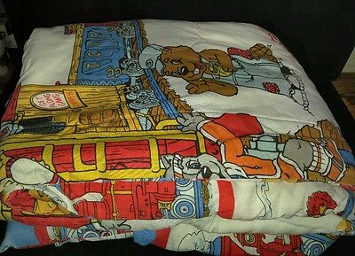 Rare Vintage The Get Along Gang Twin Quilt Blanket Quilted 1984 American Greetin