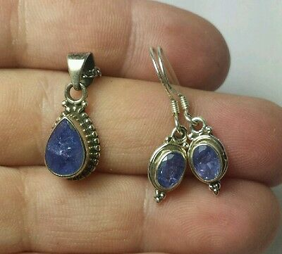 Tanzanite SET Earrings and Necklace 20 inch rough purple stone Artisan TCW 3.95