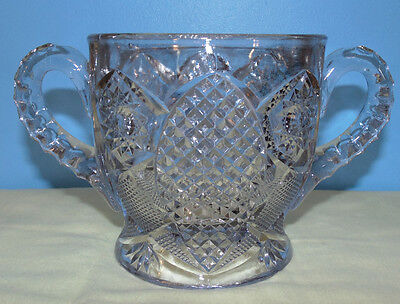 Antique EAPG Open Sugar Dish Bowl Diamonds Stars Pattern Pressed Clear Glass