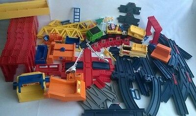 Huge 1989 Vintage TOMY Trackmaster Dark Blue Train Track With Extras 80 Pieces