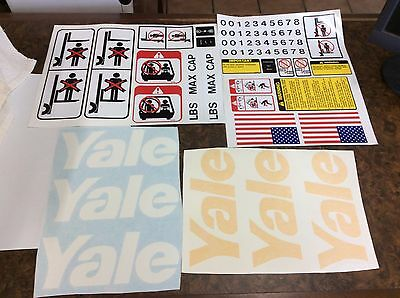 Yale Forklift decal set Complete with Safety Decals . GLC050, GLP040