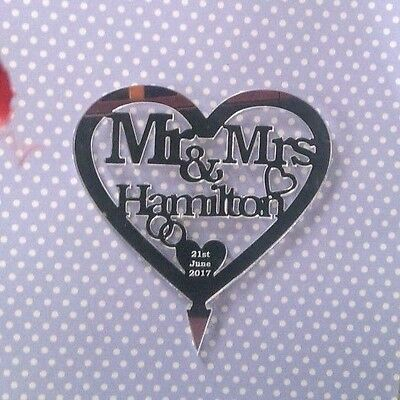 Mirror Acrylic Personalised Mr and Mrs Heart Cake Topper Wedding Decoration