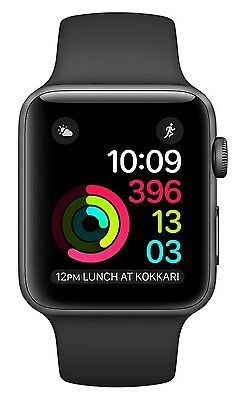 Sealed Apple Watch Series 2 38mm Space Gray Aluminum Case, Black Sport Band Orig
