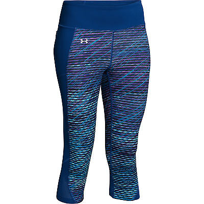 Under Armour Fly-By Printed Womens Running Fitness Capri Tight Blue- UK 6-8
