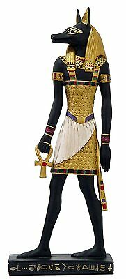 "Ancient Egyptian Hieroglyph Inspired Anubis God of Underworld Figurine 10"" Tall"