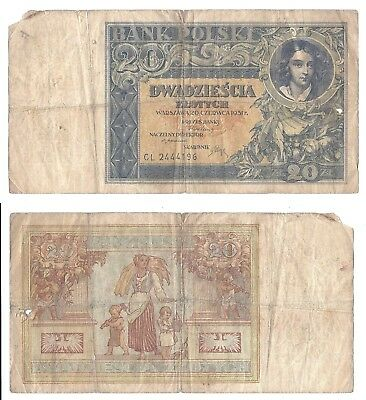 Poland 20 Zlotych 1931 (VG) Condition Banknote P-73