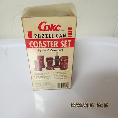 Coca Cola COKE Puzzle Can Drink Coasters Set 6 1995 New