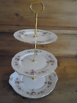 Vintage Duchess June Bouquet 3 Tiered Cake Stand For A Teaset/teapot/wedding