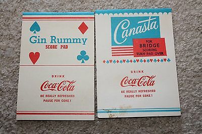 Lot of 2 Vintage Coca Cola Advertising Gin Rummy and Bridge Score Pads