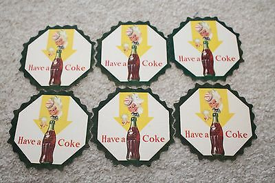 Lot of 6 Coca Cola Advertising Cardboard Coasters