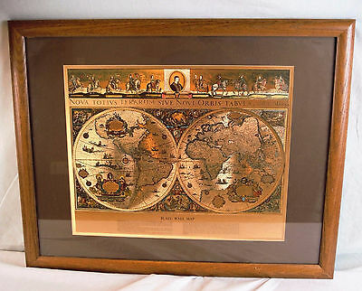 Wm. Janszon Blaeu Wall Map Of The Old & New World In Gold Foil Two Hemispheres