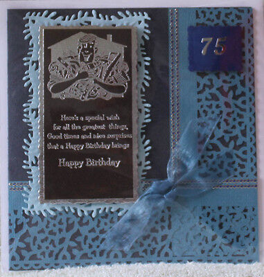 Handmade Cute Silver Embossed Jack Of All Trades 75Th Birthday Card