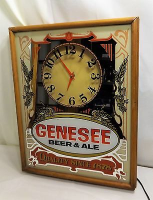 Vintage Genesee Beer & Ale Mirrored and  Lighted Wall Clock, Illuminated, c.1987
