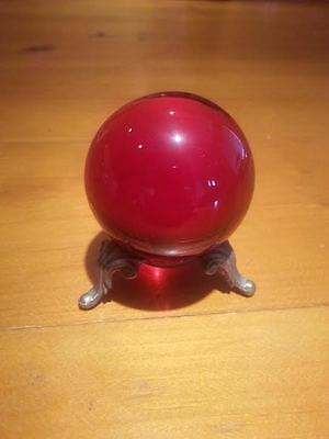 """Ruby Red Solid Glass Ball Heavy 2"""" Round Reflection/Meditation/Decoration"""