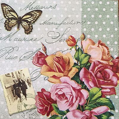 2 single paper napkins decoupage or collection Vintage style Retro Photo Flowers