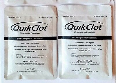 (Lot of 2) Z-Medica Quik Clot Vaccum Sealed, Sterile