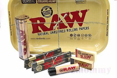 Authentic Raw Black Paper King Size Combo Tray+Papers+Tips+Roller+Lighter