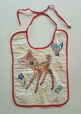 Vintage Embroidered Handstitched Baby Bibs Lot of 2 Bambi Thumper Disney