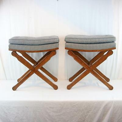 Pair X-Form Stools / Benches, Continental Craftsmen, Hollywood Regency, Blue