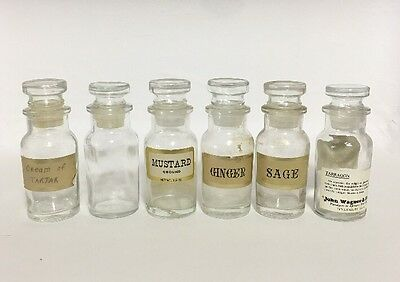 Lot of 6 Wagner Vintage Apothecary Glass Bottle Spice Jar w/ stopper