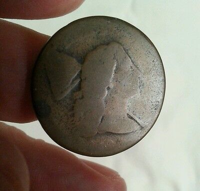 1794 us liberty cap flowing hair copper large cent date etched smooth planchet