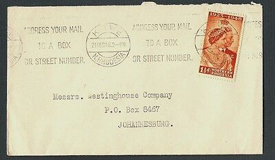 N Rhodesia South Africa 1948 commercial cover Westinghouse Kitwe Silver Jubilee