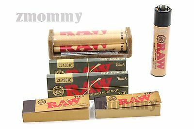 AUTHENTIC RAW BLACK ROLLING PAPER 1.25 SIZE BUNDLE ROLLER+PAPERS+TIPS+Lighter