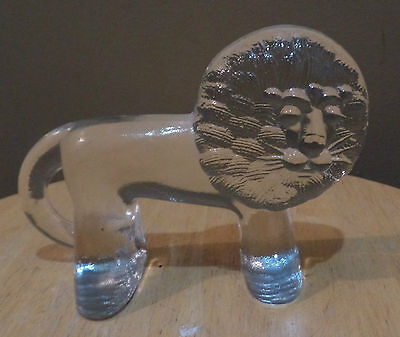 Vintage Kosta Boda LION Art Cast GLASS Figurine Wall Paperweight~ 1970'S