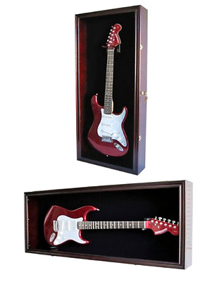 Guitar Display Case Cabinet Wall Hanger for Fender or Electric Guitars w/ Uv Pro