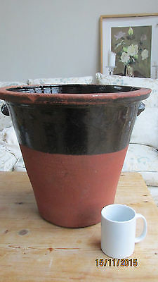 Large antique Earthenware pot semi glazed brown dairy pancheon vintage Mid Wales