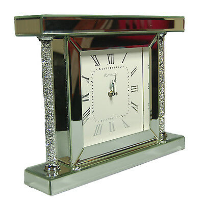 Diamond Crystal Bevelled stunning Mirrored Column clock Stylish Home Decoration