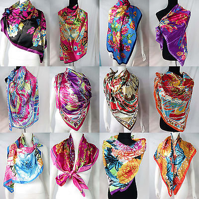 "lot of 100  Artificial silk 39"" satin square scarves shawl wrap stole wholesale"
