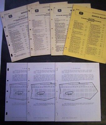 1966 - 70 John Deere Service Bulletin Index Pages and Record Sheets