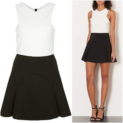 cf6e590bed0 New ex Topshop Black   White Colour Block Bonded Skater Dress RRP £50 Sizes  4012