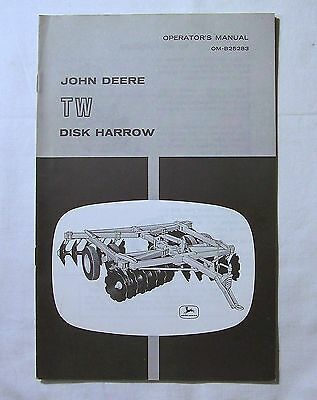 John Deere OPERATOR'S  MANUAL OM-B25283 TW DISK HARROW
