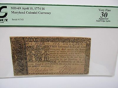 Colonial Currency Maryland 1774 $6, PCGS Very Fine 30 apparent