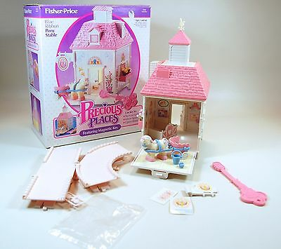 #5152 Vintage Fisher Price Precious Places Blue Ribbon Pony Stable